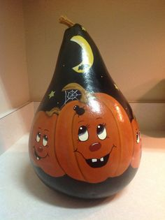 Hand painted Halloween Pumpkin Gourd by BizzyCreations on Etsy, $20.00