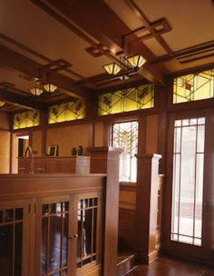 Prairie style room with stained glass clerestory windows -- Design by Joseph G. Metzler with Steven Buetow & Skip Liepke. -- Panoramic photos by Rich Ryan.  Other photos by Susan Gilmore.
