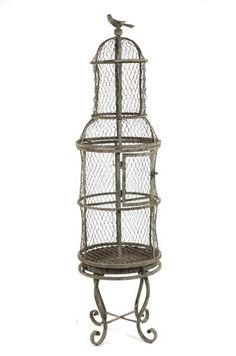 French Country Rustic Wire Tall Metal Birdcage