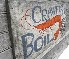 "Crawfish Sign, original art, wooden sign, ""faux vintage"", wall hanging decor,Cajun on Etsy, $68.00"