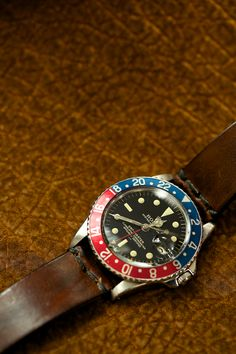 Rolex GMT Master Vintage with killer brown leather band.