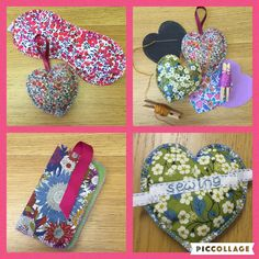 Liberty scrap & felt projects - hand sewn. Lavender hearts, eye mask & phone case.