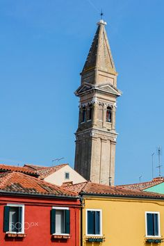 Old bell tower in balance - The old bell tower of Burano which is also in balance like the famous tower of Pisa.