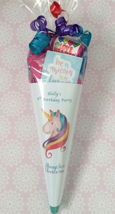 Unicorn Personalised Party Cones/Sweet cones/party bags/party favours. Rainbow and unicorn parties