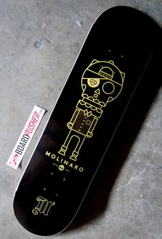 Today's featured deck is actually a surprise birthday gift for Michael Molinaro from Laura McWhorter. Michael (who is sort of pictured on the deck), designed the misfit artwork for a separate project, but Laura thought it clearly belonged between four wheels. We agree. www.BoardPusher.com skate skateboard skateboards skateboarding custom DIY art