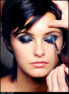 Trish Goff getting her makeup done. My first inspiration for cutting my hair short. Also, for wearing blue eyeshadow.