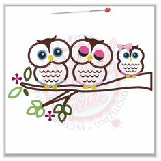 Owl (52) Daddy Mommy & Baby Applique 5x7