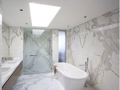 5 Reasons to Use Calacatta Marble Tiles in Your Bathroom - Sefa Stone Carrara Marble Bathroom, Calcutta Marble, White Marble Bathrooms, Stone Bathroom, Marble Tiles, Master Bathroom, Gray Marble, Bathroom Plants, Natural Stone Flooring
