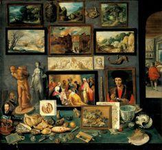 Uma parede de tesouros, 1636, Frans Francken , o jovem (Bélgica, 1581 – 1642) Kunsthistorisches Museum, Viena.