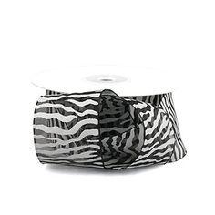 Zebra Print Organza Ribbon, 1-1/2-inch, 25-yard, Black/White