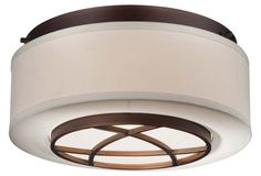 City Club 2-Light Flush Mount, Bronze