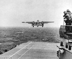 Off to battle: A B25 takes off from the USS Hornet on April 18, 1942 to complete the daring attack
