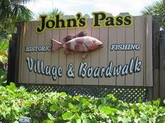 John's Pass Village in Madeira Beach, Florida is a collection of around 100 shops, bars and restaurants along the dock and side streets of the John's Pass area.  John's Pass bridge is famous for good fishing, and is a place my father spent a lot of  time fishing when I was in elementary school and living in St. Petersburg, FL.