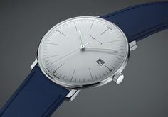 041/4464.00 Max Bill Quartz by Junghans. This unique and modern watch is a beautiful piece. With polished white face, and a handsome navy calfskin band, this quartz movement watch is a great choice. Shop now! http://www.junghanswatchesusa.net/041446400-Max-Bill-Quartz_p_359.html