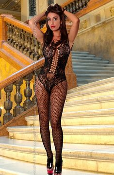 Gorgeously slinky see through bodystocking. 'Body' design which is beautifully decorated and has a large hole fishnet panel down the front. Sheer Lingerie, Luxury Lingerie, Plus Size Lingerie, Lingerie Underwear, Fishnet Bodystocking, Black Fishnets, Sexy Body, Sexy Outfits, Clothes