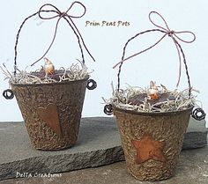 Prim Peat Pots with Grubby Candles & Rusty Tin Heart and Star