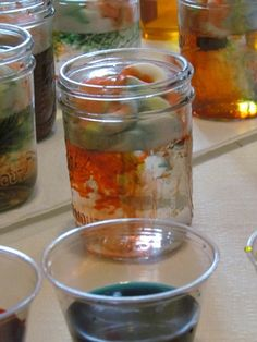 Clouds in jars and on the table top too!