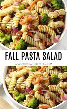 Fall Pasta Salad by The Toasty Kitchen #fall #autumn #pastasalad #partyfood #thanksgiving #halloween #broccoli #carrots #pecans #vegan #sidedish #rotini Pasta Side Dishes, Pasta Sides, Easy Pasta Recipes, Side Dish Recipes, Pasta Salad Recipes Cold, Rotini Pasta Recipes, Nut Recipes, Fall Recipes