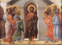 The apostles are gathered in the upper room   Jesus' appearance from behind locked doors, by Duccio-di-Buoninsegna ...