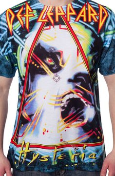 Hysteria Def Leppard Sublimation Shirt made by Trevco in collections: Music: Def Leppard, & Department: Adult Mens, & Color: Blue Rock And Roll Bands, Rock N Roll Music, 80s Hair Bands, Band Merch, Band Tees, Sublime Shirt, Def Leppard, My T Shirt, Hard Rock