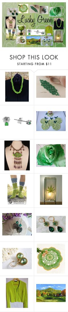 """""""Lucky Green: Vintage and Handmade Gifts"""" by paulinemcewen ❤ liked on Polyvore featuring MARC CAIN and vintage"""