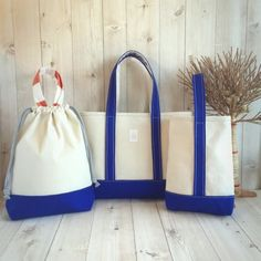 △ Canvasタイプ△入園・入学グッズ/3点セット/ブルー Bucket Bag, Gym Bag, Diy And Crafts, Lunch Box, Tote Bag, Sewing, Canvas, Handmade, Bags