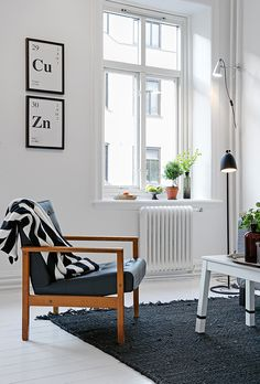 Scandinavian living room. I'm ready to paint our beat-up wood floors a glossy white. So pretty!