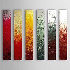 Hand geschilderd olieverfschilderij Abstract Met gestrekte frame Set van 6 1308-AB0566 | LightInTheBox