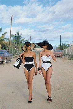 seeing double - model bathing suits in black and white classic style