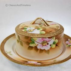 Antique Nippon Hand Painted Porcelain with Flowers Butter/Cheese Dish