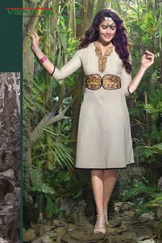 Off white color linen fabric designer kurti  http://www.vardhita.co.uk/product/off-white-color-linen-fabric-designer-kurti-34-14/
