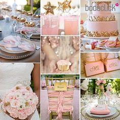 #Decoración de #bodas en rosa con toques dorados