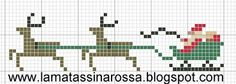 free cross stitch chart - Santa, sleigh and reindeer Santa Cross Stitch, Tiny Cross Stitch, Free Cross Stitch Charts, Cross Stitch Freebies, Cross Stitch Designs, Cross Stitch Patterns, Cross Stitch Christmas Ornaments, Christmas Embroidery, Christmas Cross