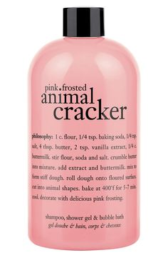 How to use the 'pink frosted animal cracker' shampoo, shower gel & bubble bath: Apply to wet body or scalp. Lather, rinse, repeat. If using as a bubble bath, drizzle a generous amount under running water and enjoy.