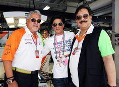 #Shahrukh Khan with King of good times Vijay Mallya and Subrata Roy, owner of Sahara at the F1 event