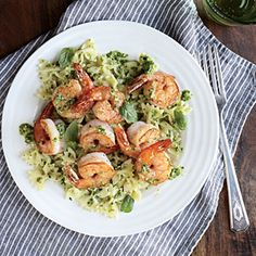 Shrimp Farfalle with Arugula Pesto Recipe | MyRecipes.com #myplate