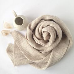 Wooden Stribes Scarf Sand. From a collection of fine soft basic knitwear made on hand driven knitting machines from the 1950s-1970s.