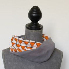 Snood léger printemps été enfant renards orange et blanc et gris uni