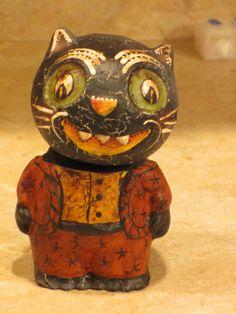 Paper mache Halloween Cat Man Bobble Head