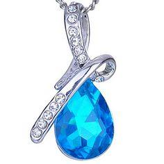Blue Drop Crystal Pendant Necklace – USD $ 4.99