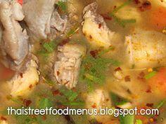 Thai food menu Thai street food menu: Thai Spicy Soup with Chicken menu(Tom-Sab-Gai)