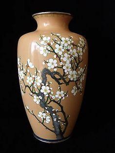 ANTIQUE JAPANESE CLOISONNE VASE + 3 VASES!! + CHERRY BLOSSOM SAKURA FLOWER BIRD!