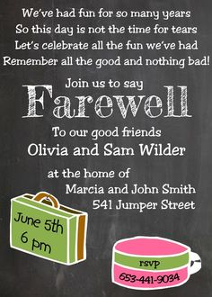 Going Away Party Invitation Template Fresh Going Away Party Invitations New Sele. Going Away Party Invitation Template Fresh Going Away Party Invitations New Selections Chalkboard Going Away Party Invitations, Potluck Invitation, Retirement Party Invitations, Dinner Invitations, Invitation Wording, Diy Invitations, Invitation Ideas, Retirement Parties, Invite