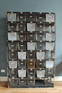 Get organized industrial style!! . Vintage Gym Locker Baskets-- to ...
