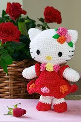 Hello Kitty Amigurumi Pattern/Charts + links to other Hello Kitty Crochet. Grab this Super Cute FREE Hello Kitty Amigurumi Crochet Pattern. Browse more Hello Kitty Patterns and many other Genres Lovely pattern to crochet your own Hello Kitty amigurumi, in Crochet Diy, Crochet Amigurumi, Amigurumi Patterns, Amigurumi Doll, Crochet Crafts, Crochet Dolls, Knitting Patterns, Crochet Patterns, Knitting Toys