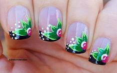 Black Floral : In today's tutorial video I show you a springy black French nail design with acrylic flowers. Black French Manicure, French Manicure Nails, French Manicure Designs, French Nail Art, Black Nail Polish, Nail Art Designs, Spring Nail Art, Spring Nails, Thin Nails