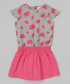 Take a look at this Pink & Gray Kitten Hadley Dress - Infant & Toddler on zulily today!