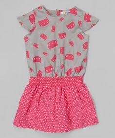 Love this Pink & Gray Kitten Hadley Dress - Infant & Toddler on #zulily! #zulilyfinds