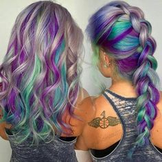 Hair color, teal hair color, pastel hair colors, blonde hair with purple st Teal Hair Color, Teal And Purple Hair, Blue Gray Hair, Purple Streaks, Color Blue, White Hair, Mermaid Hair Colors, Pastel Hair Colors, Pink Grey