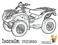 Gritty ATV Coloring Pages for your 4 Wheeler Coloring Pages collection. Sweet motorcycle coloring, too. You have to handle Honda, Can-Am Renegade, ATV parts. All coloring pages free. Teddy Bear Coloring Pages, Monster Truck Coloring Pages, Sports Coloring Pages, Cars Coloring Pages, Coloring Pages For Boys, Free Printable Coloring Pages, Coloring Books, Coloring Sheets, Bike Drawing